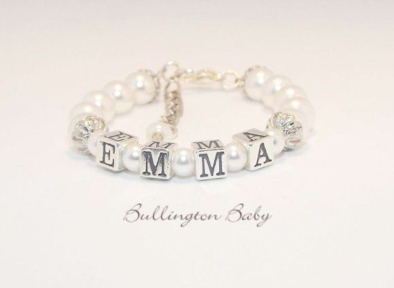 Baby Bracelet Girls Bracelet Name Bracelet Pearl by BullingtonBaby, $28.00