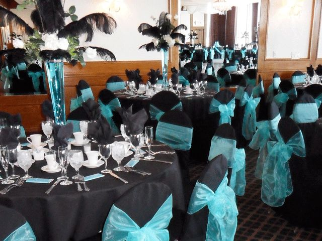 Marvelous Tiffany Blue Bows On Black Chair Covers For Rent.  Special Event Linens