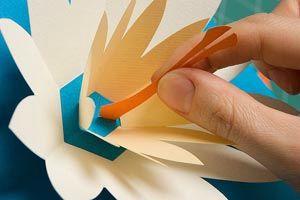 Jolie carte fleur Pop-up avec gabarit de découpe ; flower pop up card