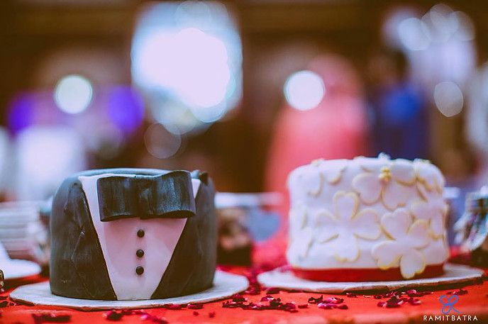 Wedding Cakes - Little Bride and Groom Cakes with Bow Tie and Tuxedo Decor, and Floral Dress Decor   All Things Yummy   Photography by the Groom: @rum1t  #allthingsyummy #wedding #cakes #minicakes