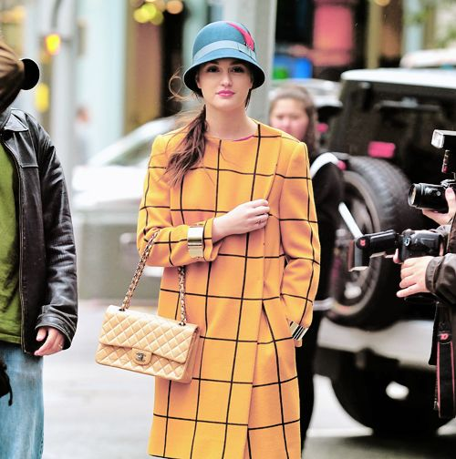 blair [leighton meester] on the set of gossip girl, season 5