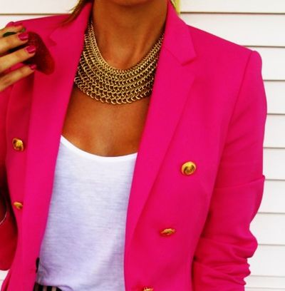 hot pink: Gold Chains, Hot Pink Blazers, Fashion, Statement Necklaces, Style, Clothing, Gold Accent, Gold Necklaces, Chunky Necklaces
