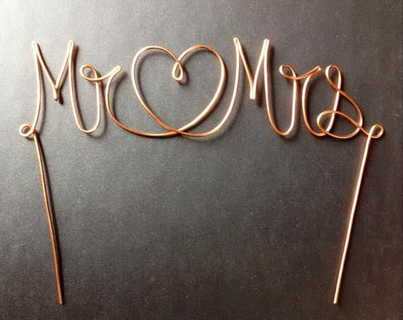 Wire Mr Heart Mrs Wedding Cake Topper