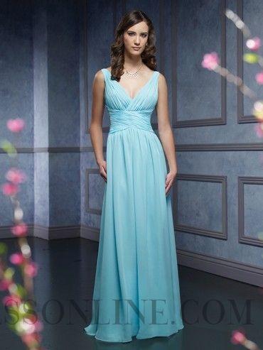 2013 Luxury A-line V-neck Sleeveless Chiffon Bridesmaid Dresses