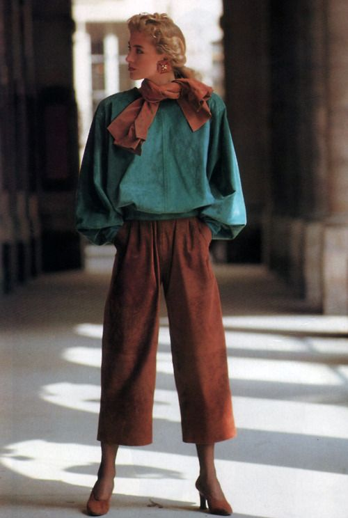 Yves Saint Laurent Rive Gauche, American Vogue, September 1989. Photograph by Arthur Elgort.