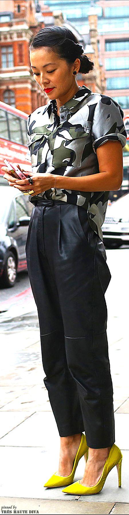 Tina Leung in  Whistles top and pants at London Fashion Week Spring 2014