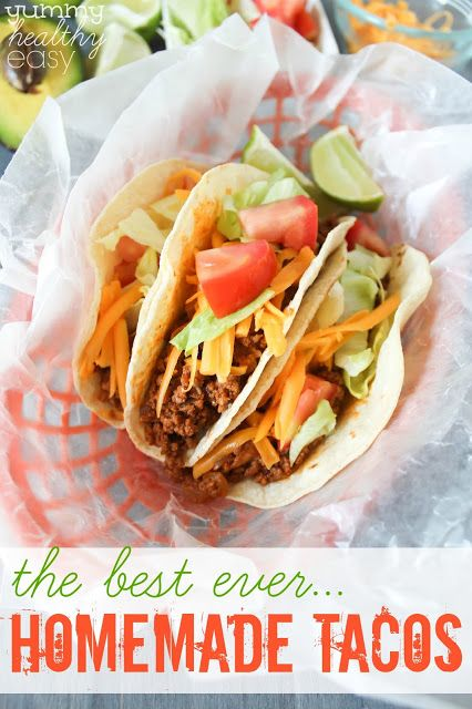 These homemade tacos are the best beef tacos EVER! They're super easy to throw together for a quick taco night dinner any night of the week. #tacotuesday