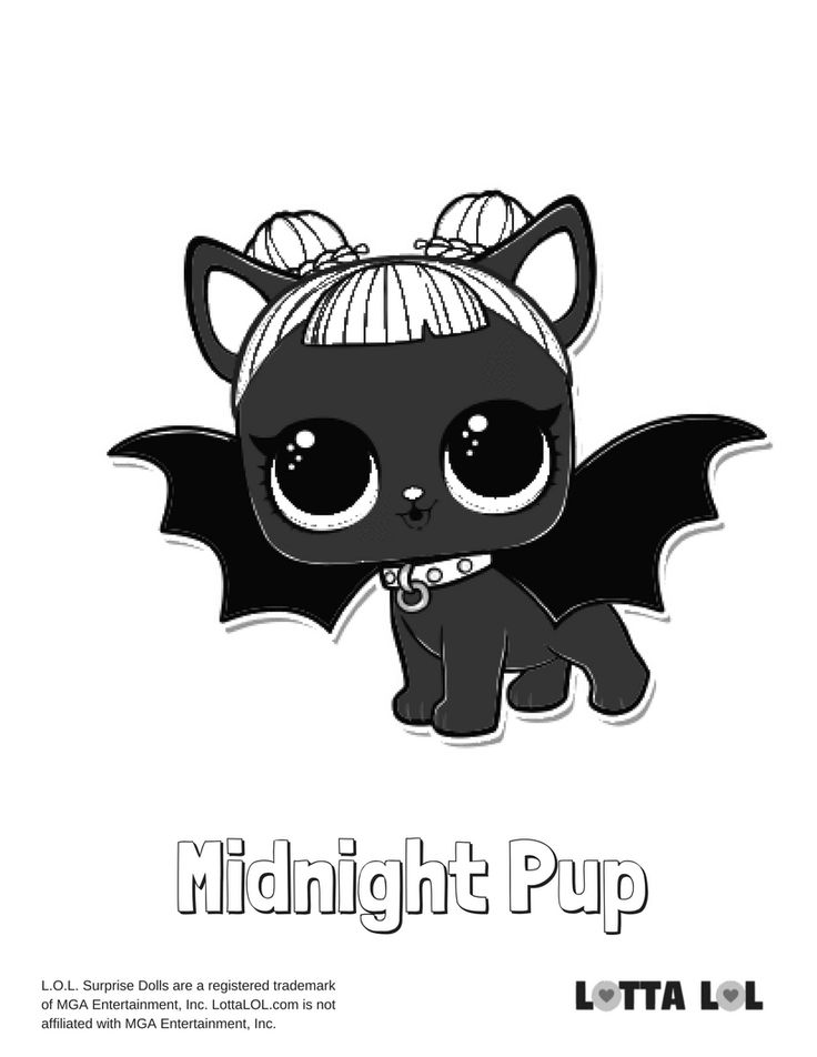 Midnight Pup LOL Surprise Doll Coloring Page LOL