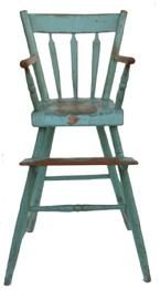 Blue antique high chair