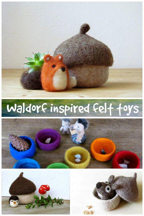 Felt acorn / Fox miniature / eco friendly felt play set / Waldorf nature table