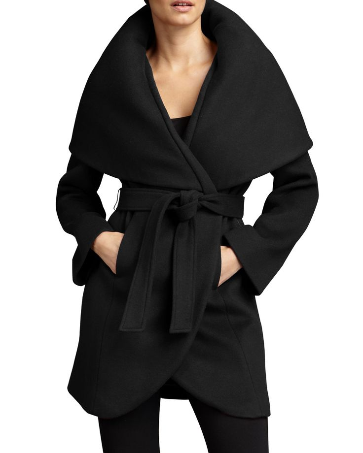 Neiman Marcus T Tahari marla wrap coat - black.