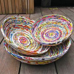 set of three recycled magazine bowls by london garden trading | notonthehighstreet.com