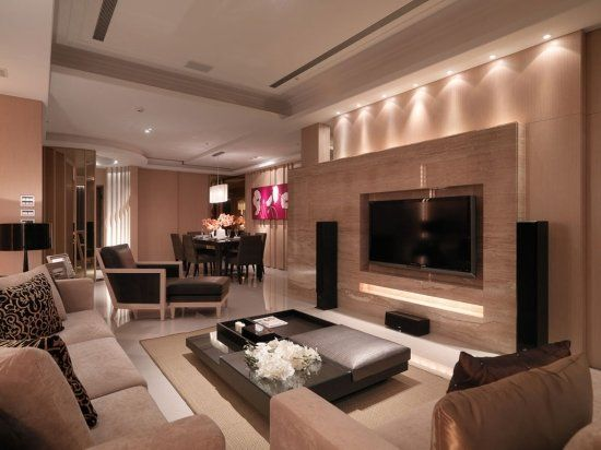 TV wall. But with a fireplace below.