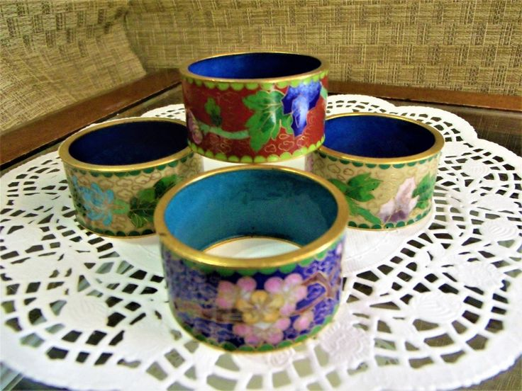 Set of 4 Cloisonne Napkin Rings ~ Floral Theme Flowers ~ Chinese Japanese Asian Enamel Enameling Decor Dining Room Table Setting Egg Stand by EclecticJewells on Etsy