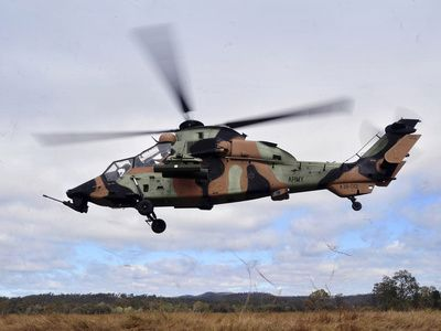 An Australian Army Tiger Helicopter Flies a Reconnaissance Mission