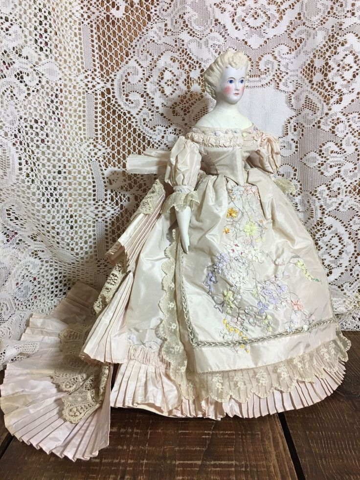 Countess Dagmar Parian Repair Extraordinary Gown! Antique Doll Handmade Taffeta