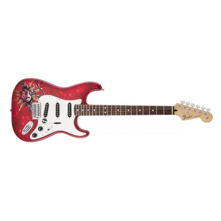 Fender Mexican Standard Stratocaster with David Lozeau Heart Graphic and Rosewood Fingerboard
