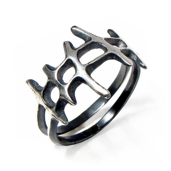 SAMURAI Black Mens Silver Ring Oxidized Silver by AroshaTaglia, $110.00 -- whatever, I love this, and I declare it a UNISEX RING for the purposes of having it myself :p