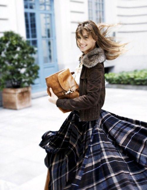 winter - long plaid skirt