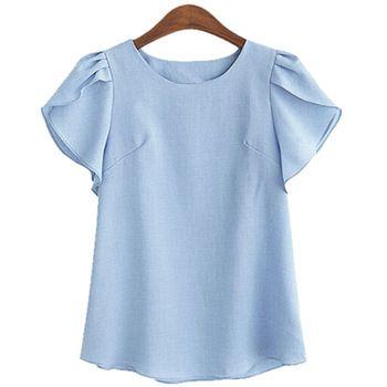 Женская шифоновая блузка с круглым вырезом