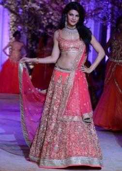 Jacqueline Frenandes walks the ramp in pink lehenga at Indian Bridal Week NOV 2013 for Jyotsna Tiwari  at Mumbai 01