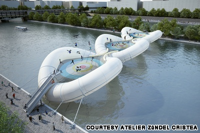 trampoline bridge on the Seine.Concept only. I want this to be real!