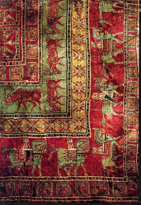 The Pazyryk Carpet - Detail of the most ancient pile carpet in the world, found to date. (ca. 400 BC, Pazyryk Barrow)