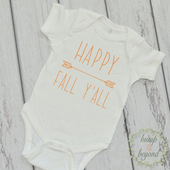 My First Fall Happy Fall Y'All Thanksgiving Outfit for Baby Pumpkin Patch Outfit My First Thanksgiving Babys 1st Halloween Outfit BumpAndBeyondDesigns on Etsy