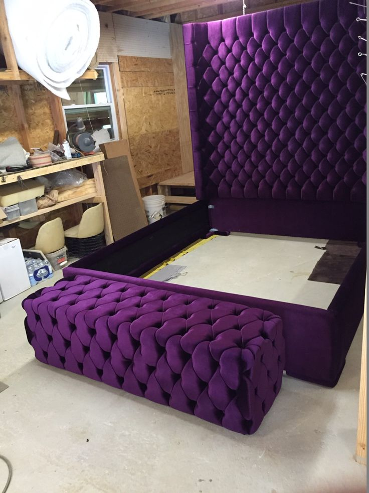 Wingback Tufted Bed King Size Queen Size Full Size Wing Back Tufted Bed Upholstered Bed Extra Tall Headboard Purple