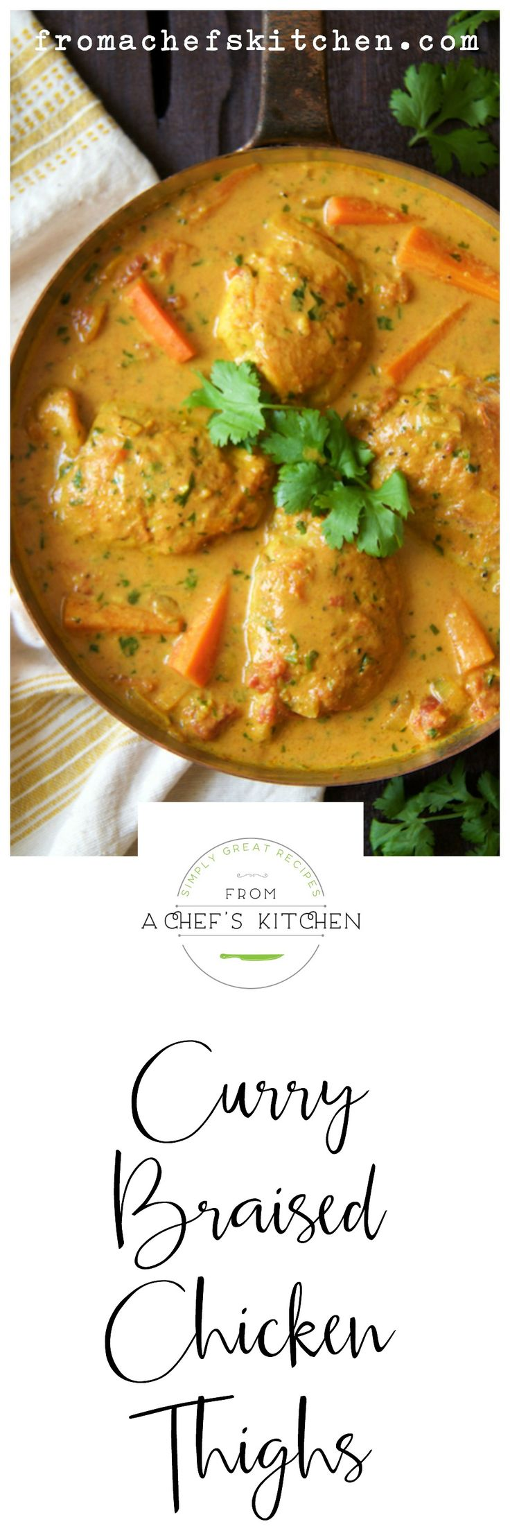 Spice up your night with these Indian-inspired Curry Braised Chicken Thighs!                                                                                                                                                                                 More