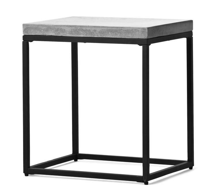 Shanghai är ett modernt sidobord med underrede i lackerad metall. Skivan är i lättskött komposit med betongkänsla.  Komposit är ett gjutet material som är lättare och mer hållbart än betong, detta gör att varje skiva är unik. Shanghai sidobord kan även användas som sängbord. Kompositskivan behöver behandlas med sprayvax två gånger innan bordet används för bästa hållbarhet.