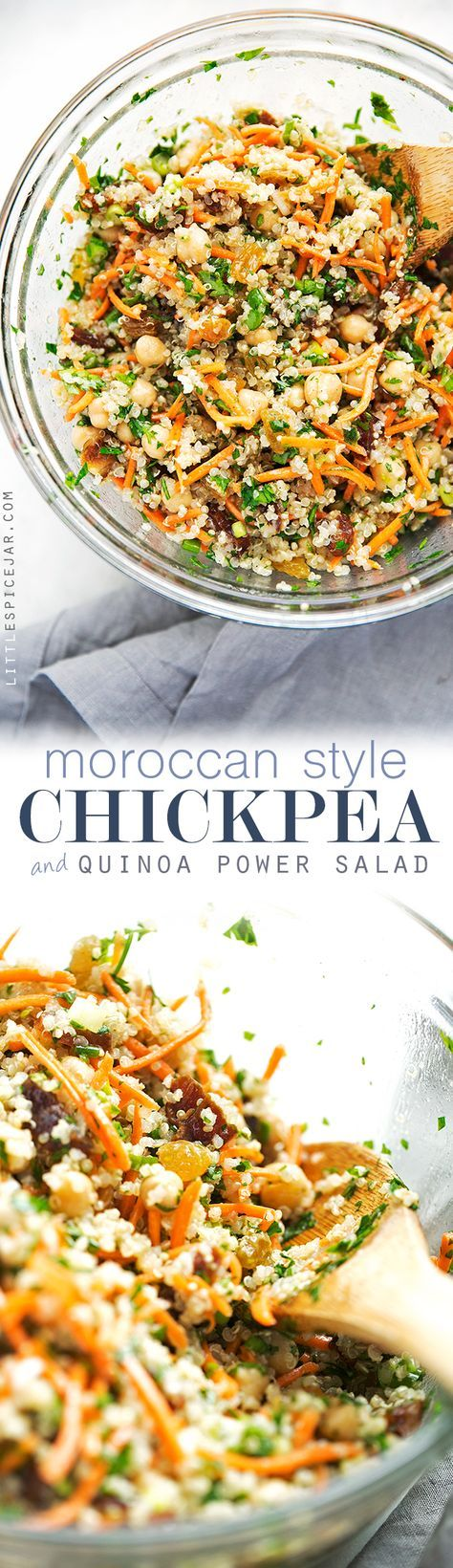 Moroccan Chickpea Quinoa Power Salad: Littlespicejar.com Note: made recipe as is - is too sweet with the dates. maybe eliminate or use less in future.
