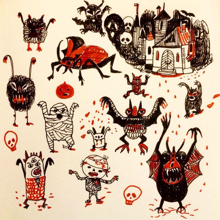 Halloween illustration by Marie Åhfeldt, Mås Illustra.