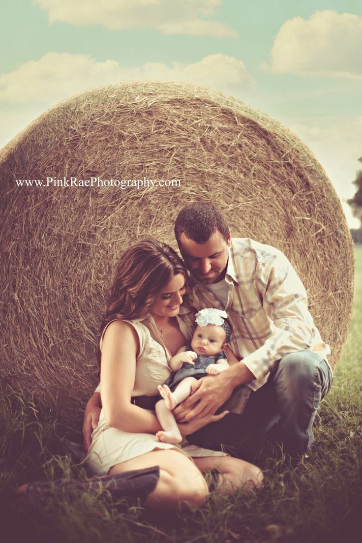 newborn family photo on the farm