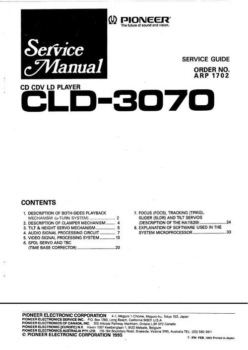 Pioneer CLD-3070 Laser Disc , Service Manual  * PDF format suitable for all Windows , Linux DOWNLOAD