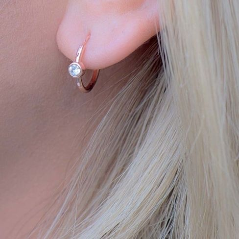 Rose Gold Hoop Earrings, AAA Zirconia Small Huggie Earrings in Rose Gold, Gold or Silver - 11mm and 15mm