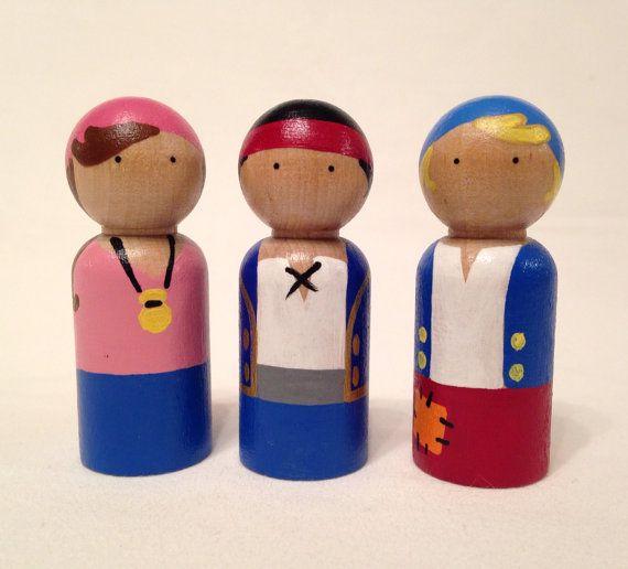 Pirates+peg+dolls+3pc+Set+by+PegHeads+on+Etsy,+$18.00