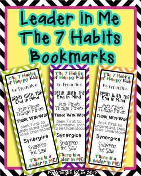 Leader in Me -The 7 Habits  bookmarks in nine colorful design$!