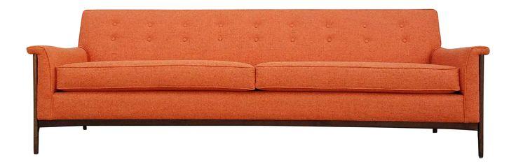 Mid-Century Style Orange Sofa on Chairish.com