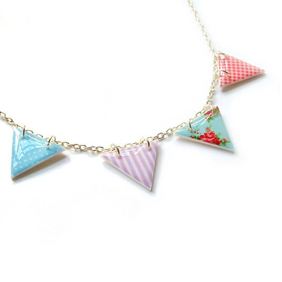 Bunting Necklace Summer Picnic by Jackdaw by Jackdaw on Etsy, $20.00