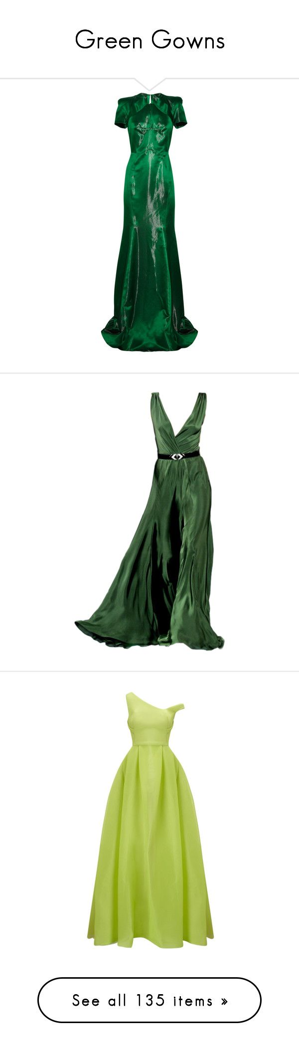 """""""Green Gowns"""" by srta-sr ❤ liked on Polyvore featuring smrgowns, dresses, gowns, long dresses, green, zac posen, dark green, green ball gown, green dress and dark green dress"""