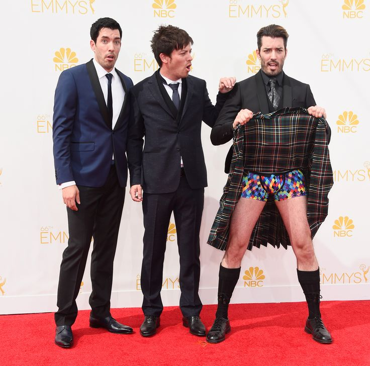 TV personalities Drew Scott, J.D. Scott and Jonathan Silver Scott attend the 66th Annual Primetime Emmy Awards showing off a little more than we asked for. Seriously dude!