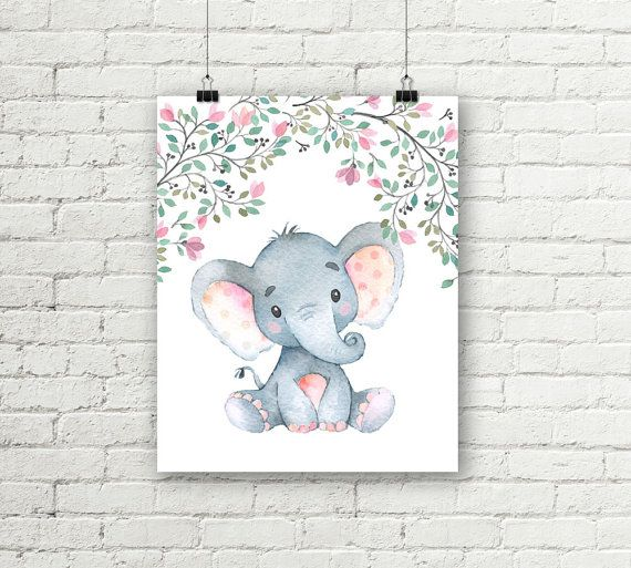 Safari Nursery Print Baby Elephant Flower Art Girls