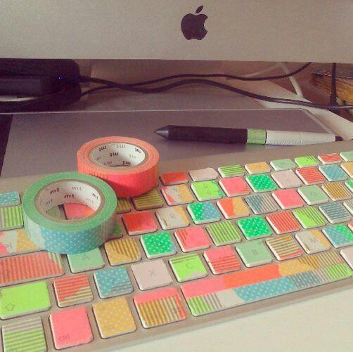 Washi-tape keyboard - colorful, cute, and crafty!!!