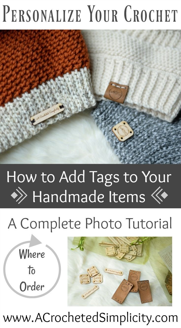 A Complete Photo Tutorial - How to Add Wooden & Leather Tags to Your Handmade Crochet Items by A Crocheted Simplicity