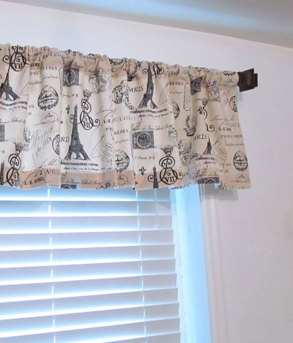 window valance french stamp eiffel tower rod pocket by oldstation