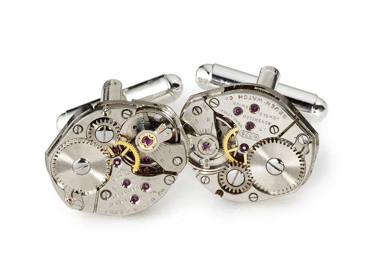 Steampunk cufflinks antique silver Gruen watch movements gears mens wedding anniversary cuff links  #SteampunkCufflinks #SteampunkJewelry #SteampunkJewelrybyMariaSparks