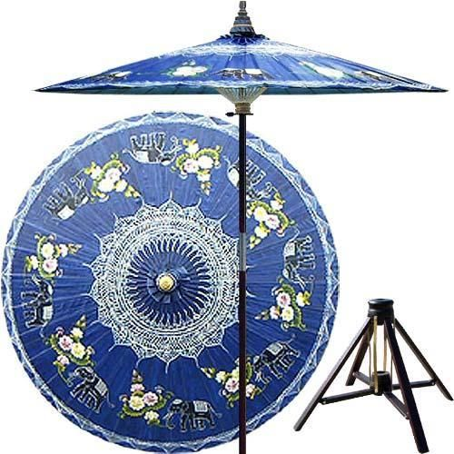 Asian Elephants (China Sea Blue) Outdoor Patio Umbrellas             $179.95