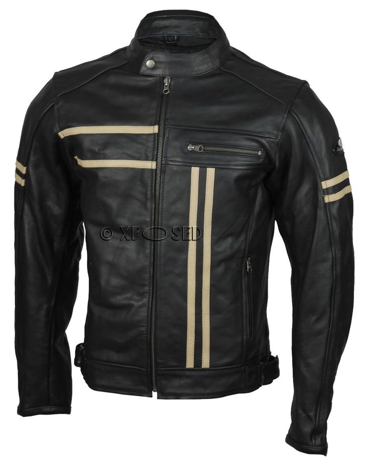 Mens Real Leather Black Motorbike Racing Jacket Vintage Retro Padded Lining in Clothes, Shoes & Accessories, Men's Clothing, Coats & Jackets | eBay
