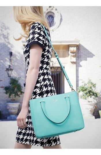 Houndstooth Short sleeve dress with Kate Spade mint crossbody tote